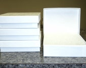 4 White Swirled Cotton Filled Gift Boxes, 3.5 x 3.5 x 1 Inches, Display Boxes, Packaging Supplies