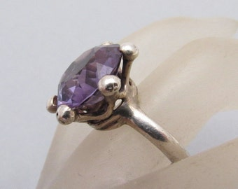 Sterling Taxco Ring Purple  Glass Alexandrite Mexican Vintage Jewelry R7162