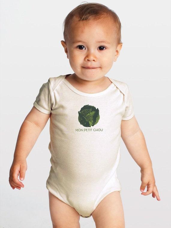 Mon Petit Chou -- Screenprinted Organic Cotton Baby Romper