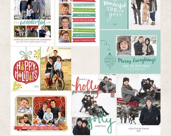 Wonderful Life Holiday Card Photoshop Templates - Includes 4 Cards and 5 Address Labels - 13 PSD Files - CS6039