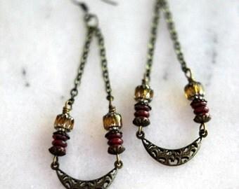 October Sale Boho Earrings, Antiqued Brass Filigree, Long Dangles, Red, Golden Yellow, Bohemian Crescent Moon