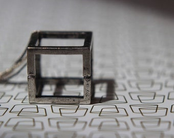 October Sale Open Silver Cube Pendant  Geometric Square Necklace  Industrial Oxidized Silver, Gunmetal  Modern  Gift Box