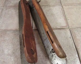Pair of old wood and metal skates- solid, beautiful, fine condition, vintage home, camp or office decor
