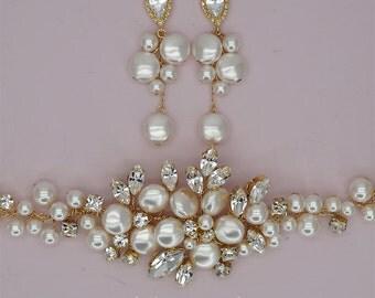 Crystal Bridal Jewelry Sets Bracelet Earrings Gold Wedding Jewelry Set Swarovski Pearls Jewelry Sets