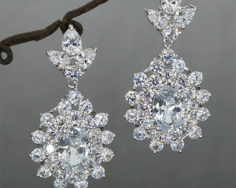 Rhinestone Bridal Earrings Hochzeit Ohrringe Crystal Earrings for Wedding Cubic Zirconia Jewellery Vintage Style Earrings
