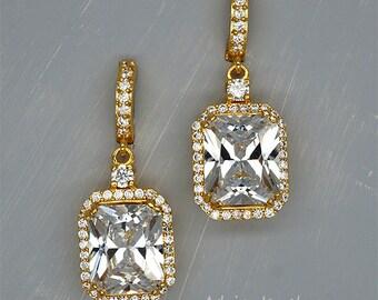 Crystal Earrings Gold Bridal Earrings Gold Wedding Earrings Cubic Zirconia Wedding Earrings Rectangle Crystal Earrings Crystal bride Jewelry