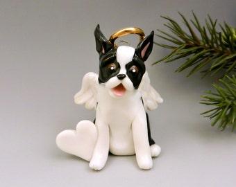 Boston Terrier Angel Christmas Ornament Figurine Personalized Porcelain