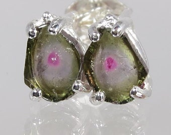 Crystals of Natural Watermelon Multi Color Tourmaline 1.33 carats t.w. Handset in Sterling Earrings - Fast Free Shipping