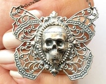 Yriyega Filigree Butterfly Skull Necklace No.1 - Soldered Antique Sterling Silver Plated American Brass - Insurance Included