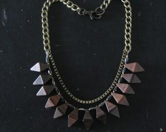Geometric Wood Bib Necklace - Modern Woodgrain