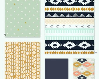Aztec Tribal Mint, Navy and Gold Custom Crib Baby Bedding Set - Arizona in Mint Sky