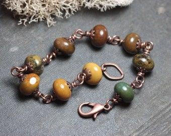 Jasper Bracelet Wire Wrapped Gemstone Bead Luxe Rustic Jewelry Antiqued Copper Fall