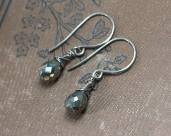Pyrite Earrings Antiqued Sterling Silver Wire Wrapped Faceted Teardrop Briolette Rustic Jewelry Metallic Gray Earrings