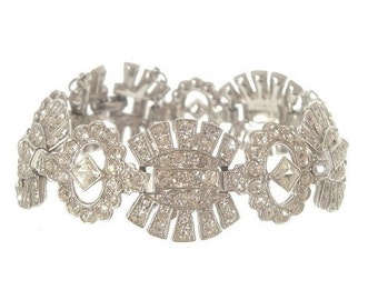 Art Deco Bracelet, Antique 1920s Statement Bridal Jewelry, Vintage Art Deco Jewelry, Wedding Jewellery