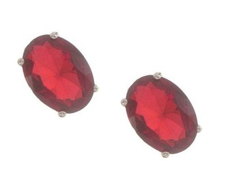 Vintage Ruby Earrings, Multi Faceted Oval Ruby Earrings, 1980 Vintage Pierced Earrings