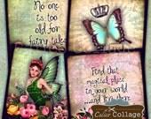 Fairies, Collage Sheet, 4x4 Coasters, Digital Collage, Printable Sheet, Decoupage Paper, 4x4 Collage Sheet, PrintableTags, Digital Coasters