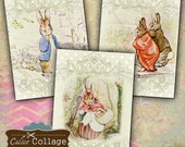 Story Book Bunnies Digital Collage Sheet Beatrix Potter 2.5x3.5 ATC Size Gift Tags Mini Cards Vintage Download Decoupage Paper CalicoCollage