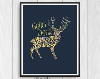 Hello Deer - Printable Wall Art Digital Downloads designed by Calico Collage - Print Your Own Images for Home Decoration