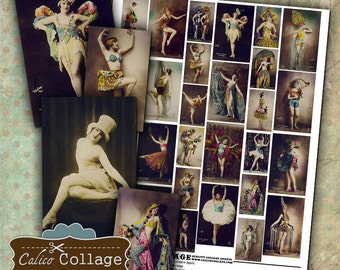 Burlesque Dancers Digital Collage Sheet Printable Images Mixed Meda Art Altered Art Decoupage Paper Calico Collage Graphics Vintage Ladies