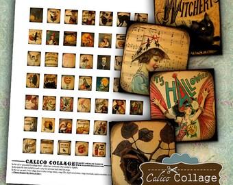 Vintage Halloween Digital Collage Sheet .75x.83 Scrabble Tile Size, Pendant Charms, Wood Tiles, Decoupage Paper, Decoupage Game Tiles, Bezel