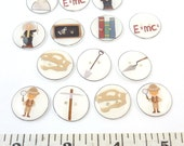 Custom Order - 14 Buttons - 7 Albert Einstein and 7 Archaeologist Themed Buttons,