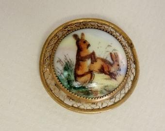 Victorian Era Rabbit Brooch