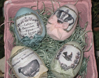 4 Shabby Chic Cottage Paper Mache  Easter Eggs with French Themed Graphics, Glitter and Bows