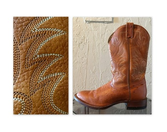 Vintage Genuine Cowboy Boots Ostrich Leather by Boulet 9 E Hammered Pegs