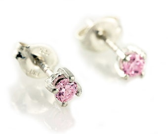 Sterling Silver Pink Cubic Zirconia Earring Studs