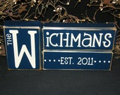 Wedding anniversary blocks last name shower gift established marriage date custom wooden sign monogram personalized