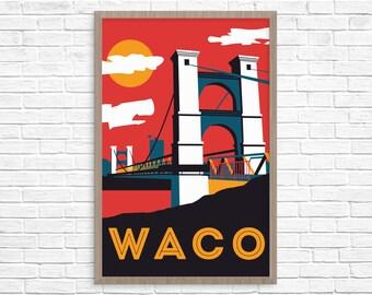 Waco Suspension Bridge Poster 24x36