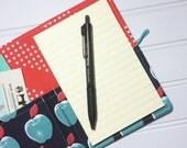 Mini Shopper - Notepad holder List taker - Picnic Aqua apples by Melody Miller