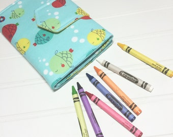 Crayon Wallet - READY TO SHIP Hip Trendy Travel -  Blue fish