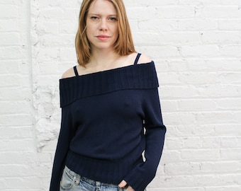 1980s navy blue off the shoulder sweater with spaghetti straps / off shoulder cowl neck minimalist classic preppy