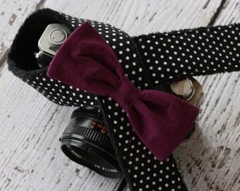 Camera Strap. Camera Neck Strap. Polka Dot and Plum Bow. dSLR Camera Strap. Custom Camera Strap. Cute Camera Strap. Designer Camera Strap.