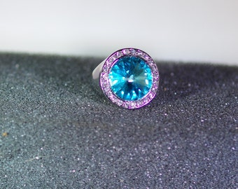 Silver and Swarovski Crystal Jewelry - Ring - Round Setting - Silver Plated - Size 7.5 - Available in Several Colors