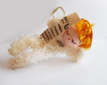 """1960s Cute Chenille and Spun Cotton Angel Christmas Ornament 3"""" High Little Christmas Doll with Sheet Music Pipe Cleaner Tree Ornaments"""