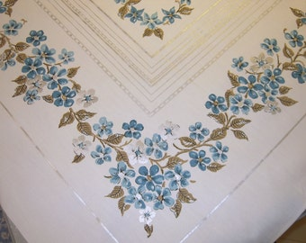 Vintage Tablecloth Silver & Blue Apple Blossoms MWT