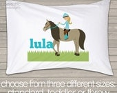 Girl horse pillowcase / pillow - custom personalized pillowcase great birthday gift