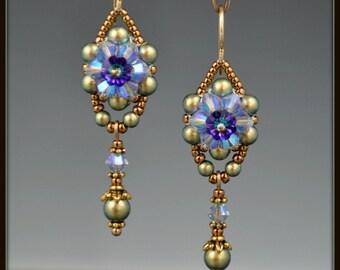Beaded, Beadwoven, Beadwork, Crystal Flower Earrings