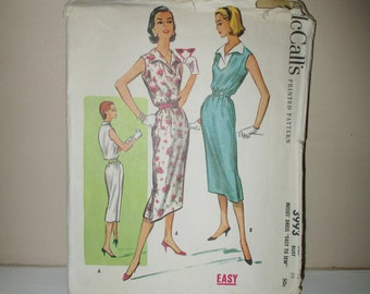 1957 Vintage McCalls pencil dress Pattern sz 18 bust 38 # 3993 Vintage Clothing