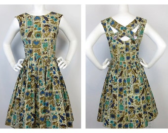 Vintage 1950s / 60s Folk Patterned Cotton Dress / Dirndl, Oktoberfest Chic, Sz S