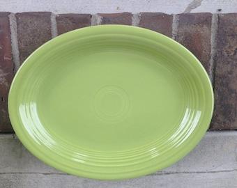 Vintage Fiesta Chartreuse Oval Platter Fiestaware Lime Green