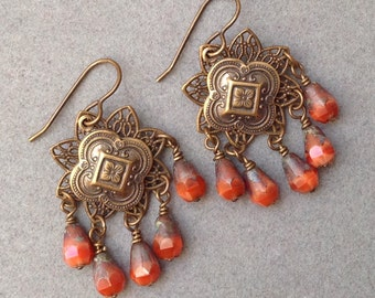 Filigree Brass Stamping Earrings And Flower Charms With  Pearly Orange Czech Glass  Drop
