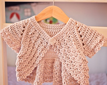 Crochet PATTERN - Flutter Sleeve Shrug - Cardigan (sizes baby up to 6 years)