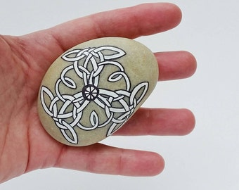 shield stone - celtic, viking, eternal knot, tattoo, hand painted