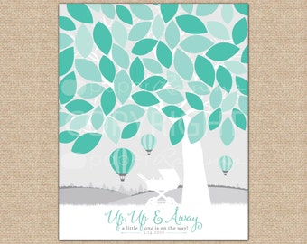 Up Up and Away Baby Shower, Hot Air Balloon Baby Shower, Guestbook Alternative, Baby Shower Guestbook// Art Print or Canvas // N-A09-1PS QQ2