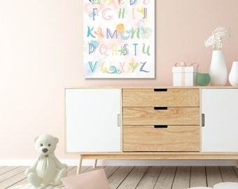 ABC Wall Art, New Baby, Baby Girl Nursery, Mermaid Nursery, Watercolor, Kids Room Art, Nursery / ArtPrint or Canvas / N-XM15-1PS AA1 06S