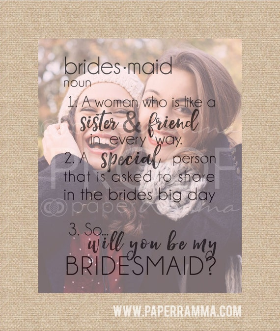... My Bridesmaid Gift, Gift for Sister // Art Print or Canvas // W-Q25