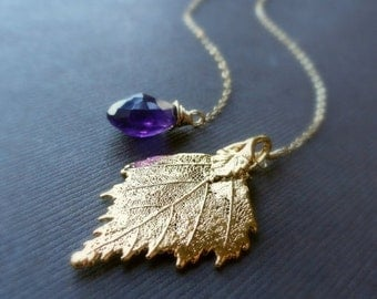 2-DAY 20% OFF SALE Gold Leaf necklace, Purple amethyst & birch leaf lariat necklace, Bridesmaid Gifts for fall weddings, Y necklace